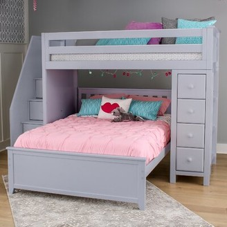 Harriet Bee Ayres L-Shaped Bunk Beds with Drawers and Bookcase Size: Twin over Twin, Bed Frame Color: Gray