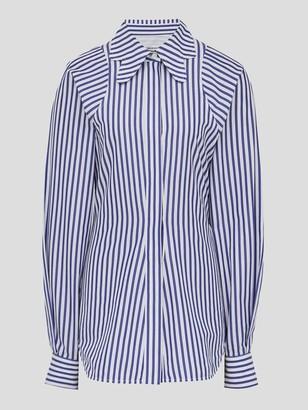 Victoria Beckham Stripe Shirting Butterfly Collar Shirt