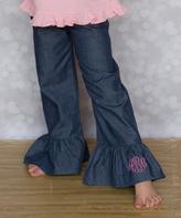 Princess Linens Denim Monogram Pants - Infant, Toddler & Girls