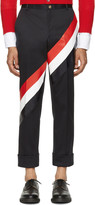 Thom Browne Navy Diagonal Stripe Unconstructed Chinos