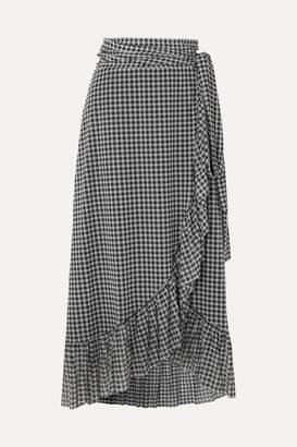 Ganni Ruffled Gingham Mesh Wrap Skirt - Black