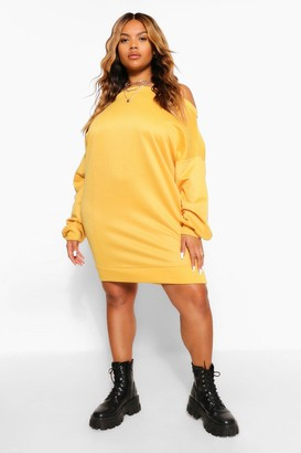 boohoo Plus Off The Shoulder Sweat Dress