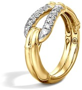 John Hardy Bamboo 18K Gold Diamond Hook Ring