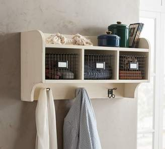 Pottery Barn Wade Wood and Wire Cubby, Almond White