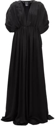 Ann Demeulemeester Nanette Gathered Satin Dress - Womens - Black