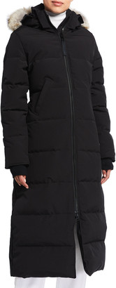Canada Goose Mystique Long Hooded Puffer Parka Coat w/ Fur Trim