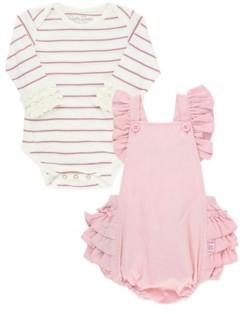 RuffleButts Baby Girls Bodysuit and Flutter Overall Romper Set