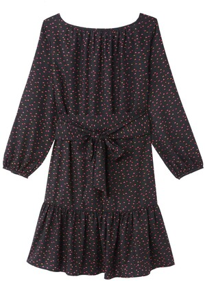 Heart Print Short Dress with Long Sleeves and Tie-Waist