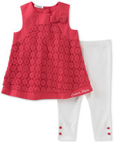 Calvin Klein 2-Pc. Crochet Tunic & Capri Leggings Set, Baby Girls (0-24 Months)