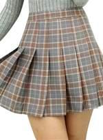ACHICGIRL Women's Fashion Plaid Pattern Pleated Mini Skirt, M