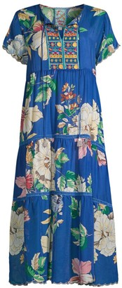 Johnny Was Holly Embroidered Floral Tiered Dress
