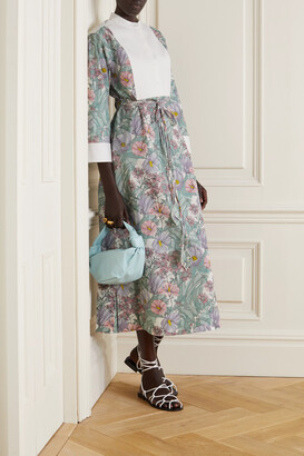 Tory Burch - Belted Floral-print Cotton-poplin And Jacquard Dress - Purple