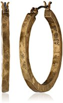 Lucky Brand Gold-Tone Small Hammered Round Hoop Earrings