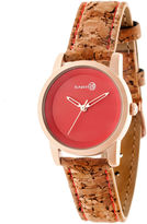 Earth Wood Canopies Red Dial Leather-Band Watch ETHEW2904
