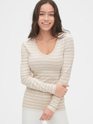 Gap Modern Stripe Long Sleeve V-Neck T-Shirt