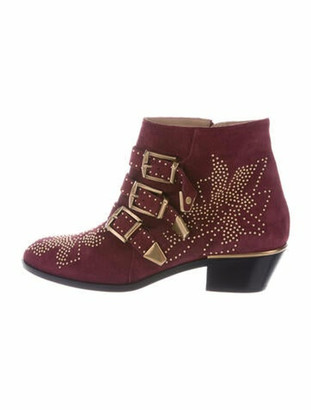 Chloé Suede Studded Accents Boots