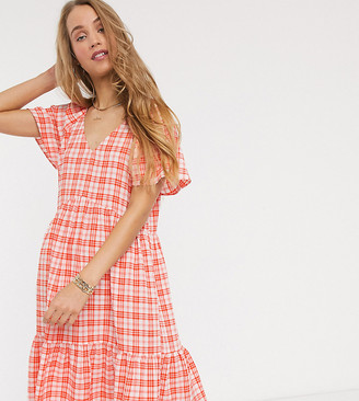 Y.A.S Tall mini dress with peplum hem in red check