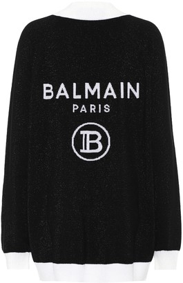 Balmain Logo intarsia wool-blend cardigan