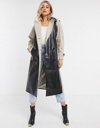 Asos DESIGN leather look paneled trench coat in stone