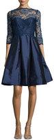 Monique Lhuillier 3/4-Sleeve Lace-Bodice Full-Skirt Short Dress, Navy