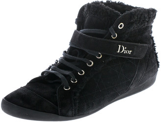 Christian Dior Black Suede And Wool Trim Lace Up High Top Sneakers Size 41