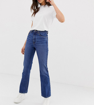 Asos Tall DESIGN Tall Egerton rigid cropped flare jeans in dark vintage wash-Blue