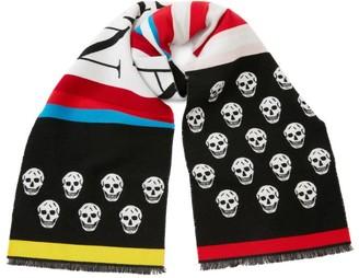 Alexander McQueen Wool-Cotton Skull Logo Scarf