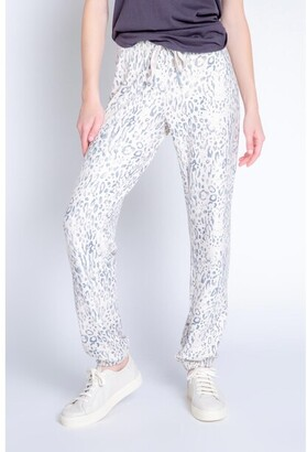 PJ Salvage Peachy Party Leopard Banded Pant, Oatmeal Small
