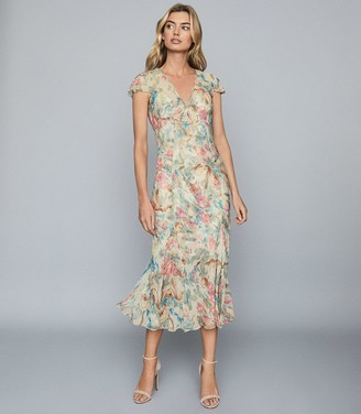 Reiss LILLY FLORAL-PRINT CHIFFON MIDI DRESS Pink