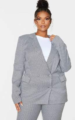 PrettyLittleThing Plus Black Dogtooth Pocket Front Double Breasted Blazer