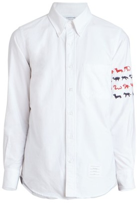 Thom Browne Striped Oxford Button-Front Shirt