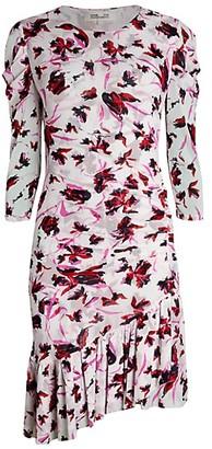 Diane von Furstenberg Lila Floral Asymmetric Flounce Dress