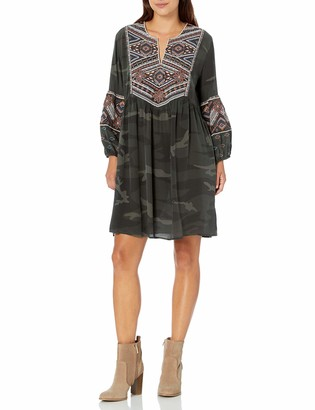 3J Workshop by Johnny was Women's Camo Printed Embroidered Dress