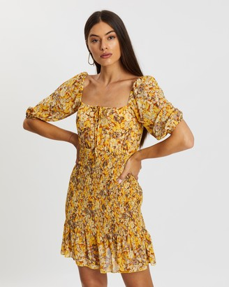 Atmos & Here Lilly Puff Sleeve Shirred Dress