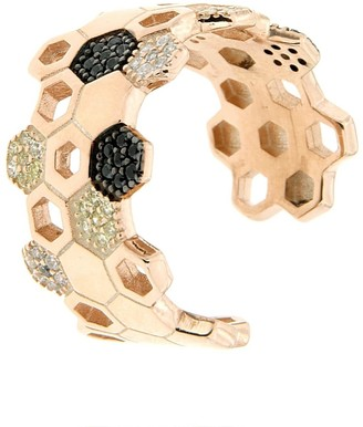 Cosanuova Sterling Silver Honeycomb Bee Ring In Rose Gold