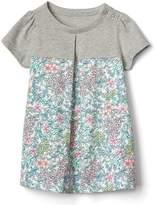 Mix-print pleat dress