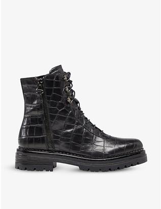 Dune Phase crocodile-embossed leather boots