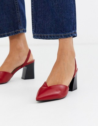 Raid Fawn sling back heeled shoes in red