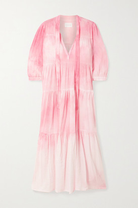 HONORINE Giselle Tiered Crinkled Tie-dyed Cotton-gauze Midi Dress - Baby pink