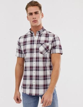 Burton Menswear oxford shirt with burgundy check-Red