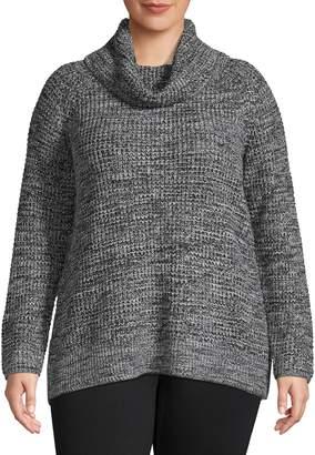 Jones New York Plus Cowl Neck Raglan-Sleeve Sweater
