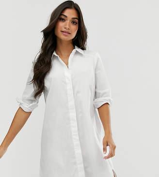Asos DESIGN Petite cotton mini shirt dress-White