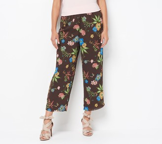 Linea by Louis Dell'Olio Regular Crinkle Georgette Crop Pull-On Pants