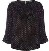 Dorothy Perkins Womens Black Polka Dot V-Ruffle Front Top- Black