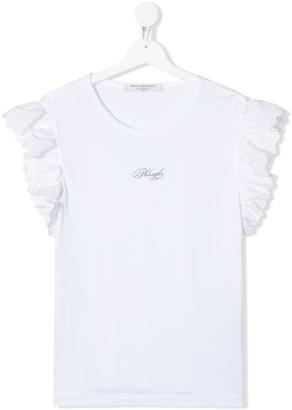 Philosophy di Lorenzo Serafini TEEN broderie anglais sleeve T-shirt