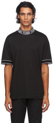 Fendi Black Logo Collar T-Shirt
