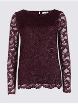 Per Una Sparkly Lace Slash Neck Long Sleeve Top