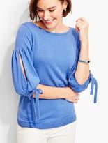 Talbots Tie Juliet-Sleeve Sweater-Tipping Trimmed