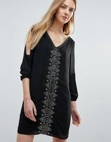 Greylin Vira Open Sleeve Beaded Shift Dress