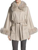 Sofia Cashmere Belted Fox Fur-Trim Cashmere Cape, Taupe